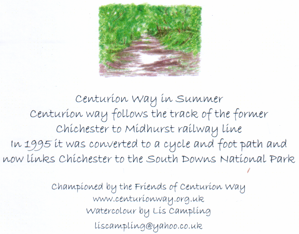 Centurion Way in Summer by Lis Campling (back of card)